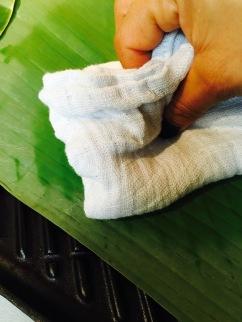 cuisson de feuilles bananier